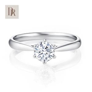 DR DarryRing 一克拉钻石戒指定制专柜正品<span class=H>珠宝</span>六爪求婚结婚钻戒