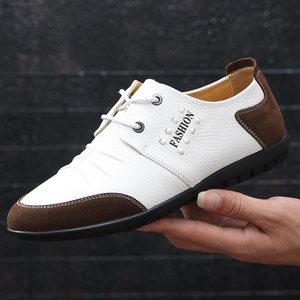 头层<span class=H>牛皮</span>秋季休闲鞋男士软底真皮皮鞋白色<span class=H>男鞋</span>潮流小白鞋青年白鞋