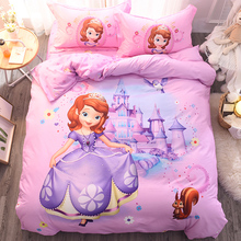 Cartoon Disney cotton bedding set of four cotton children's princess wind sheets quilt cover three-piece girl