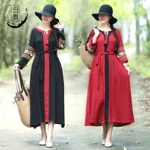 Spring and Summer New Cotton Women's Wear Embroidery Loin V-collar Retro-ancient Ethnic Style Colour in Long S Dresses