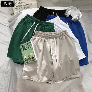 男生短裤<span class=H>五分裤</span>夏季薄款宽松ins港风潮流运动休闲潮牌纯棉沙滩裤