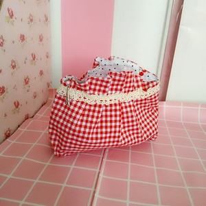 日系少女心红色格子<span class=H>化妆包</span> 樱桃波点软妹便携收纳包 布艺手拿包包