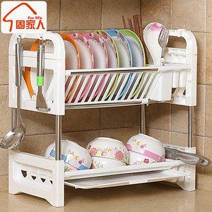 双层<span class=H>厨房</span>收纳架放碗架沥水架不锈钢置物架碗碟盘刀碗筷收纳盒箱2