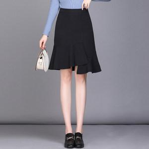 <span class=H>半身裙</span>女中长款鱼尾裙夏荷叶边A字2019新款高腰工装正装职业裙子