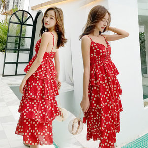 普吉岛沙滩裙女海边度假裙泰国红色波点法式复古吊带蛋糕<span class=H>连衣裙</span>夏