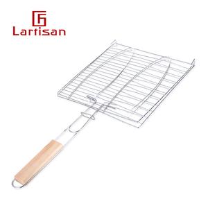 lartisan户外烧烤工具<span class=H>用品</span>配件带把手烤鱼夹子烤鱼网烤汉堡烧烤网