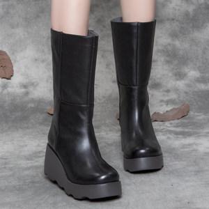 女靴秋季新款2018百搭真皮中筒靴女坡跟<span class=H>防水台</span>圆头厚底牛皮长靴子