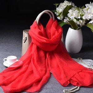 纯色超大雪纺丝巾纱巾披肩 红黑白色防晒大方巾女围巾沙滩巾百搭