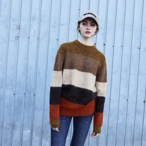 慵懒风半高圆领撞色横条<span class=H>毛衣</span>女宽松新款冬季保暖彩色条纹套头毛衫
