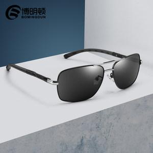 博明顿 新款偏光<span class=H>太阳镜</span>墨镜男士司机驾驶镜金属方框墨镜内镀蓝膜