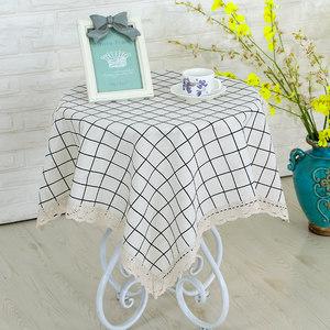 桌布布艺长方形圆桌棉麻格子茶几布家用客厅正方形防尘餐桌布台布