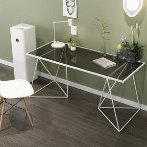简约北欧电脑桌铁艺烤漆钢化玻璃笔记本电脑桌<span class=H>办公桌</span>学习桌书桌