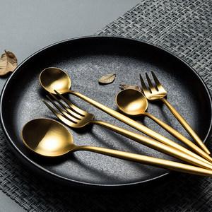 北欧网红叉子勺子<span class=H>刀叉</span>套装西餐牛排餐具两三件套全套家用可爱高档