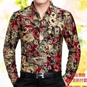 中年男士长袖桑蚕丝夏季薄花衬衫爸爸装时尚休闲印花衬衣<span class=H>男装</span>上衣