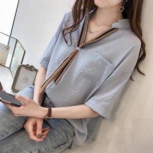 夏季雪纺衬衫女短袖韩版新款宽松白色v<span class=H>领带</span>超仙中袖衬衣时尚外穿