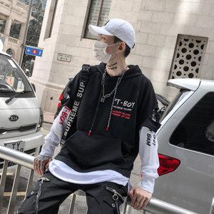欧美街头嘻哈卫衣男潮连帽潮牌宽松假两件街舞衣服hiphop加绒外套