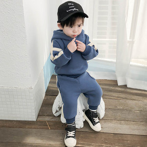 宝宝套装男童1-3岁2冬装加绒洋气两件套婴儿时髦衣服小童运动潮衣