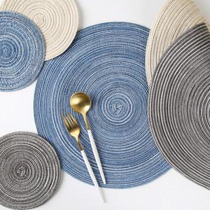 日式手工三色餐桌垫苎麻垫家用隔热盘垫防烫垫锅垫碗垫<span class=H>杯垫</span>砂锅垫