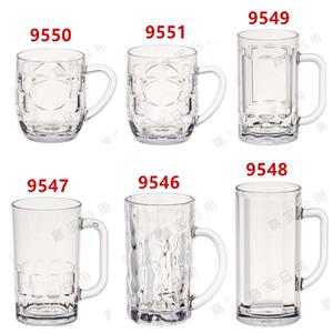 嘉宝亚克力PC防摔透明带<span class=H>手柄</span>手把饮料杯<span class=H>啤酒杯</span>酒吧杯果汁水杯茶杯