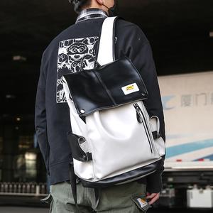 潮牌双肩包男大容量pu旅行背包高中大学生书包女韩版 USB电脑背包