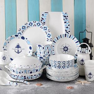 <span class=H>唐山</span>骨瓷餐具碗碟<span class=H>套装</span> 北欧地中海风格 家用�x具陶瓷碗盘送人礼盒
