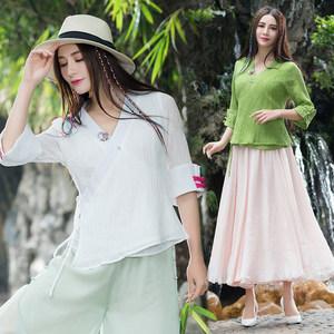 夏季民族风雪纺皱v领七分袖<span class=H>衬衫</span>汉服女设计感中国风复古女装上衣