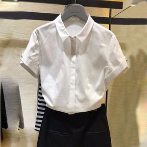 欧阿玛施旗正品国内代购2019夏装新款职业修身纯白短袖衬衫女上衣