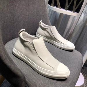 欧洲站男鞋2018秋季新款真皮白色<span class=H>高帮鞋</span>男一脚蹬马丁靴小白鞋男