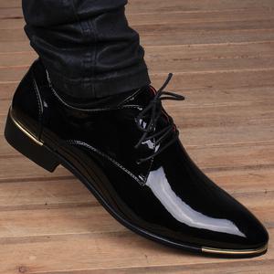 夏季男士英伦韩版尖头透气皮鞋真皮商务内增高6cm亮面休闲<span class=H>男鞋</span>子