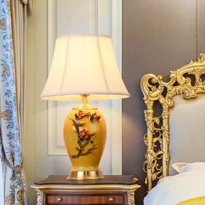 奢华珐琅彩新款全铜<span class=H>台灯</span>美式乡村卧室房间遥控好看的玻璃法式床头