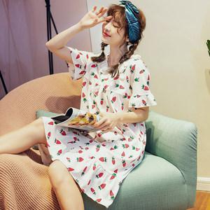 睡衣女夏季纯棉<span class=H>睡裙</span>短袖韩版学生可爱宽松孕妇裙女外穿中裙加大码