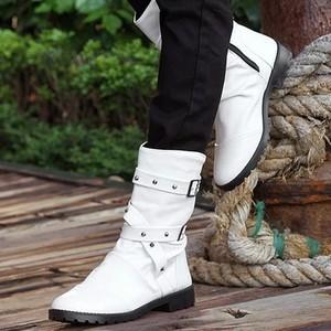 春秋新款加棉男靴子男士高筒靴韩版潮流冬季中筒马丁靴高帮男鞋子