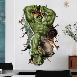 漫威贴纸3D立体穿墙绿巨人复仇者联盟墙贴客厅卧室装饰墙贴纸<span class=H>贴画</span>