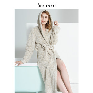 北欧女士秋冬季珊瑚绒连帽<span class=H>浴袍</span>女法兰绒睡袍保暖睡衣可外穿家居服