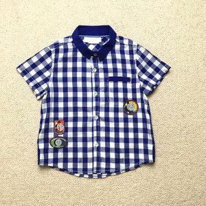 男童小中大童春夏新款纯棉格纹短袖<span class=H>衬衫</span>110-140