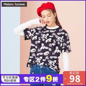 美特斯邦威2019夏季韩版新款米老鼠印花宽松纯棉短袖<span class=H>T恤</span>女上衣潮