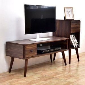简欧式小户型电视柜1米卧室用胡桃实木色<span class=H>地柜</span>现代简约电视机柜子