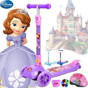 迪士尼<span class=H>滑板车</span>儿童闪光学步四轮初学者可折叠三轮划板溜溜玩具新品