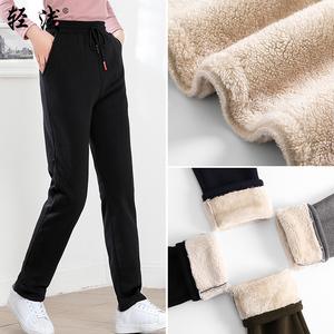 2018新款<span class=H>女装</span>加绒运动裤冬季宽松裤子女士加厚绒裤直筒卫裤<span class=H>休闲裤</span>