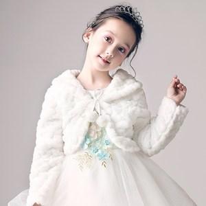 女童秋冬季长袖保暖毛<span class=H>披肩</span>花童婚礼婚纱加厚小外套儿童斗篷小披风
