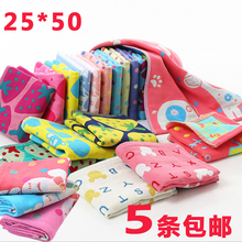 Three-layer gauze, pure cotton hook, all-cotton cartoon towel, baby rectangular soft absorbent children's facial washcloth