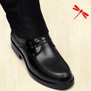 正装皮鞋男士商务休闲真皮青年系带内增高冬季加绒保暖棉黑色圆头