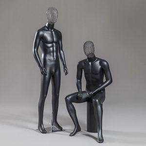 。男模特道具全身镂空头服装店橱窗展示人台黑色高档时尚男装模特