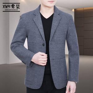 春秋男士休闲西服<span class=H>外套</span>羊毛上衣中年修身毛呢西装春季爸爸装薄款