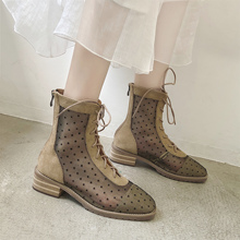 Shoe children Charlotte Martin boots, stiletto boots, corrugated hollow screen boots, thick-soled Roman strap-on sandals, breathable ins