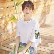 Silk Cage Summer 2019 New Style Strange Cartoon Printed Short Sleeve T-shirts for Women with Loose Student Alphabet Tops