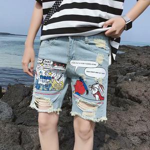 夏季浅色破洞牛仔裤男潮牌宽松直筒五分裤港风bf耐磨卷边短裤男