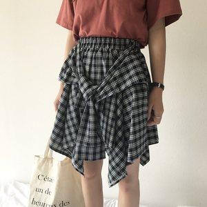 夏季2018新款韩版不规则<span class=H>短裙</span>学生百搭高腰<span class=H>绑带</span>时尚休闲格子半身裙