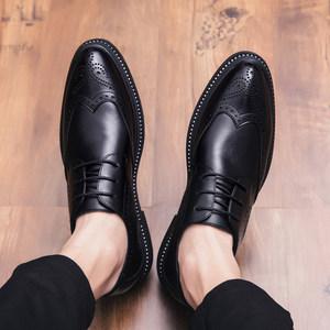 真皮<span class=H>皮鞋</span>男韩版内增高英伦休闲潮商务雕花尖头婚鞋黑布洛克男鞋