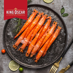 KingOscar泰国<span class=H>进口</span>冷冻海鲜<span class=H>对虾</span>南美白虾甜虾熟直虾400g*2